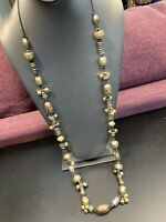 Vintage Chicos Silver Gold Beaded Long Beaded Necklace Cotton Chain 38""