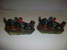Set 2 Vintage W.H. Howell Cast Iron Stagecoach Bookends Book Ends Doorstops