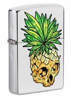 Zippo Leaf Skull Pineapple Design High Polish Chrome Windproof Pocket Lighter...