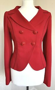 A2 - HOBBS Red Wool Tailored Fitted Jacket Finest Italian Wool Size 8