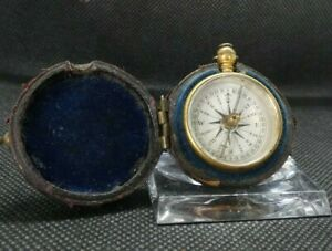 VICTORIAN POCKET COMPASS IN LEATHER BOUND CASE