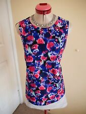 TOKITO Royal Blue Pink TOP Size 8 BNWT NEW Floral Pink White Navy Black S/Less