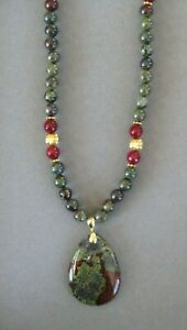 Beautiful African Bloodstone Pendant Necklace with Genuine Bloodstone Beads
