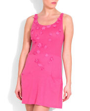 NOUGAT OF LONDON GERANIUM PINK LINEN BLEND APPLIQUE DRESS RETAIL £135 SIZE 10