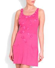NOUGAT OF LONDON GERANIUM PINK LINEN BLEND APPLIQUE DRESS RETAIL £135 SIZE 10