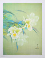 """WHITE ORCHID Wall Decor 18"""" x 24"""" Vintage Lithograph David Lee Fine Art Gift"""