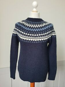 Abercrombie and Fitch Yoke Pattern Jumper In Blue Wool Blend -Small- TO25