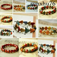 Fashion Round Square Ceramic Hand Beads Mens Charm Women Jewelry Bracelet Chain