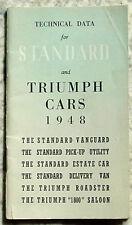 STANDARD & TRIUMPH Technical Data Handbook 1948 VANGUARD Roadster VAN Pick Up