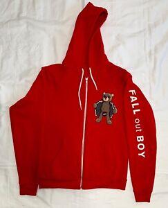 Fall Out Boy Flashing Teddy Bear Hoodie Size Medium FOB Bracelet Folie A Deux