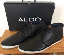 9001cfb2 Aldo Rogier Black Leather Lace Up Casual Fashion High Top Sneakers Mens 12  46.5