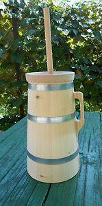 Wooden Butter Churn Plunger Handmade 2 Liter Dash Churn Natural Wood