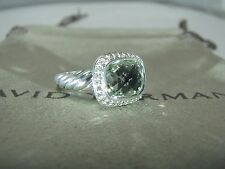 AUTHENTIC DAVID YURMAN S.SILVER NOBLESSE PRASIOLITE DIAMOND RING SIZE 6 DY POUCH