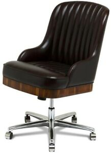 OFFICE CHAIR SCARBOROUGH HOUSE BROWN ITALIAN LEATHER  BAHIA ROSEWOOD SWIV