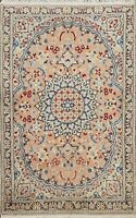 Vintage Floral Nain Hand-knotted Medallion Area Rug Wool Oriental 3'x5' Carpet