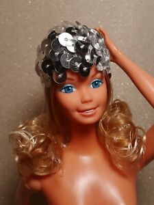 Mattel 70s Superstar Barbie Doll Silver Sequin Hat Accessory Reproduction