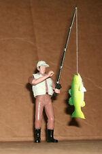 1/18 Scale Fisherman Figure With Fishing Pole Caught Bass Fish - Custom Rod Line