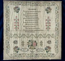 ANTIQUE 19TH CENTURY FINELY WORKED EMBROIDERY SAMPLER BY JANE QUIGLEY DATED 1825