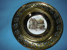 REGENCY BONE CHINA BRASS FILIGREE WALL PLATE CHARGER STIRRUP CUP SCENE HORSES