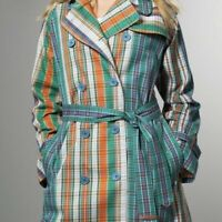 MARC JACOBS Tartan Deluxe Trench Coat Belted Colorful Plaid Womens Size Small
