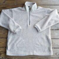 Vtg Columbia Sherpa Fleece Pullover 1/4 zip L Unisex USA Made Tan