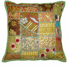 """Embroidered 16"""" Green Cushion Pillow Cover Patchwork Sofa Throw Indian Decor"""