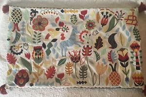 "Ikea Rodarv Embroidered Folk Pillow Cover Sham 16"" x 26"" Pillow Cover"