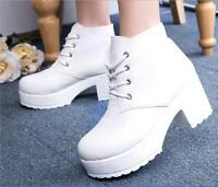 Womens white lace-up round toe ankle boots punk platform Chunky heels shoes size