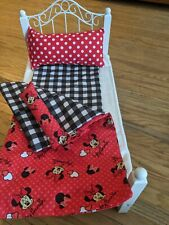 Minnie Mouse Red & Black Bedding Comforter, sheet & pillows 14/16/18 in dolls