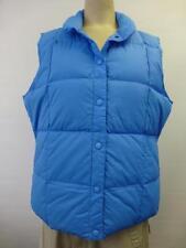 New womens LANDS END Puffer blue Down VEST coat jacket ski bunny sz Medium 10-12