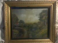 Antique painting IMPRESSIONISM late 1800's or early 1900's framed in glass