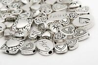Wholesale Lots Mixed 70pcs Tibetan Silver Heart Spacer Beads Jewelry Finding DIY