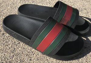 Gucci Pursuit 72 Slide Black Striped Red Green Sandal Men 6 Women 7.5 / 8 308234