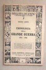 CRONOLOGIA DELLA GRANDE GUERRA 1914 - 1918 DECIO CINTI 1940