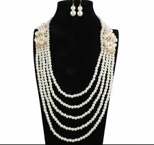 CHUNKY MULTI-STRAND TIERED CREAM PEARL PANAL STATEMENT NECKLACE EARRINGS SET