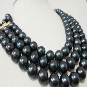 9-10mm Black Round Shell Pearl Necklace 3 Row 18inch 14K Clasp elegant luxury