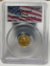 1999 $5 Gold American Eagle 1/10 WTC Recovery  Ground Zero MS69 PCGS 1/1000