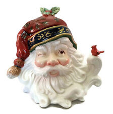 Santa Head Cookie Jar Large Ceramic Flowing Beard Winking Cardinal Perched 10""
