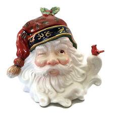 "Santa Head Cookie Jar Large Ceramic Flowing Beard Winking Cardinal Perched 10"""