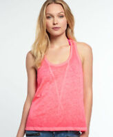 New Womens Superdry Super Sewn Burnout Vee Tank Top Fluro Pink
