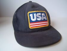 USA Patch Hat Blue Coal Snapback Trucker Cap Made USA