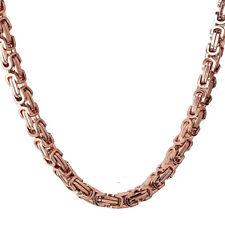 65cm x 5mm MACIZO BIZANTINO Collar Cadena Collar acero inoxidable oro rosa