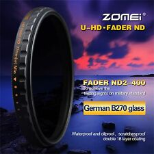 Zomei 52mm Slim Multi-Coated 18 layers HD ND2-400 Fader Variable Filter For DSLR