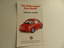 Franklin Mint VOLKSWAGEN NEW BEETLE Brochure Pamphlet Mailer