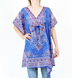 Blauer Kaftan Bluse Tunika Paisley Design Hippie vintage Goa Indien