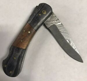 Damascus Steel Folding Knife with 2-tone Wooden Handle - JW413