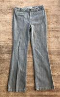 CHICO'S PLATINUM PANTS SZ 1 Blue White RAILROAD STRIPE Trouser