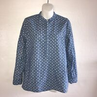 Madewell Womens Shirt Half Button Blue White Medium B46