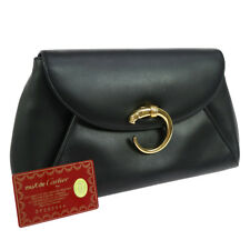 Authentic must de Cartier Panther Logos Clutch Black Leather Vintage GOOD F02705