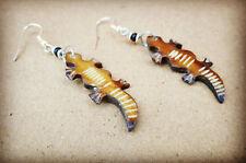 Crocodile /Alligator Shape Brown Bone Hook Earrings Handcarved African Jewellery